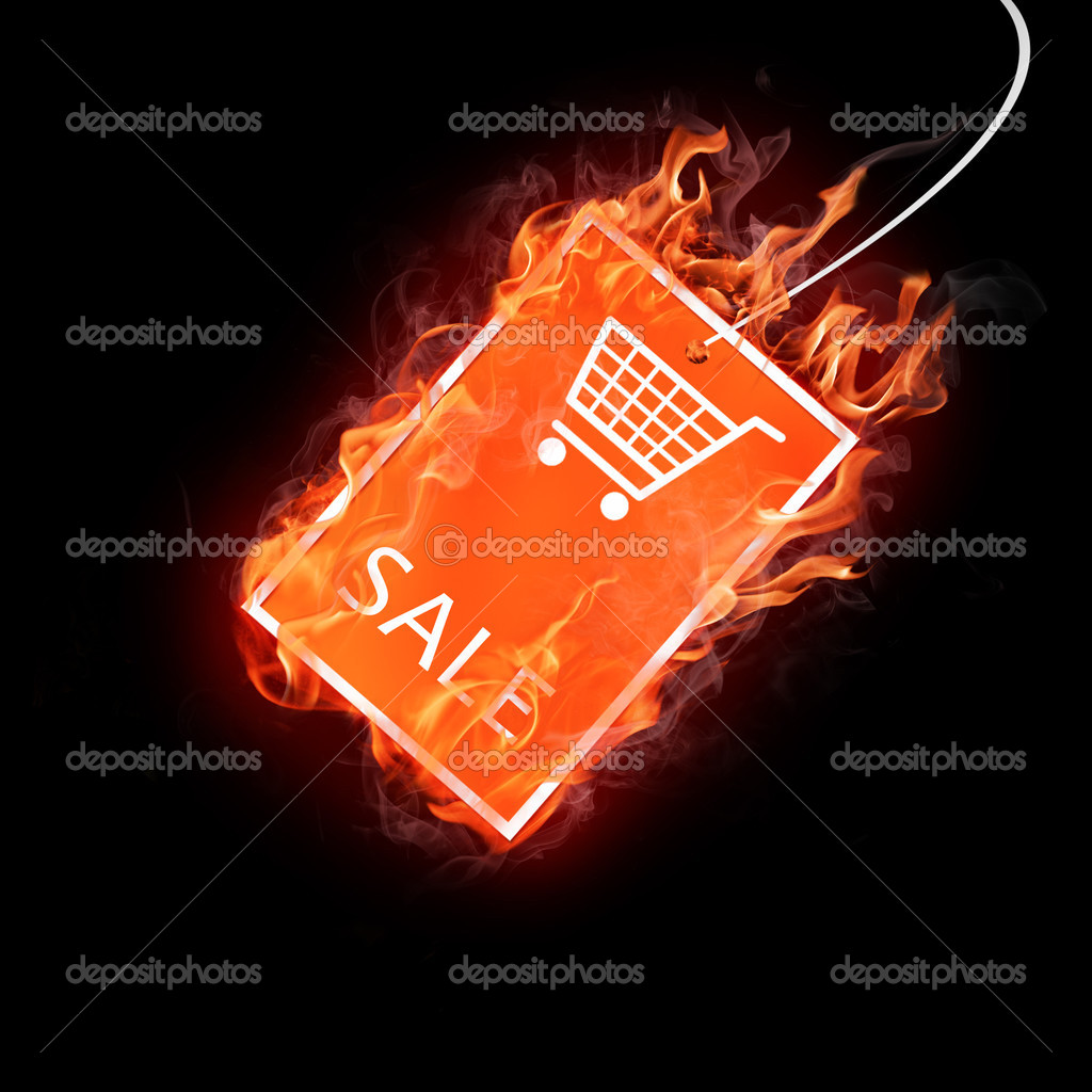 Bright flamy sale symbol on the black background — Stock Photo #3206465