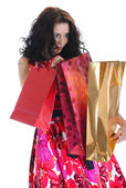 Girl with the package — Stock Photo