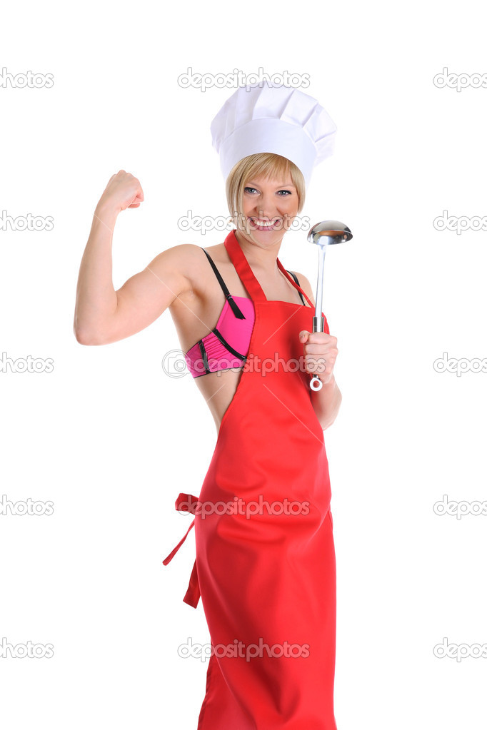 Strong young cook in a red apron with a ladle. Isolated on white background — Stock Photo #3223242