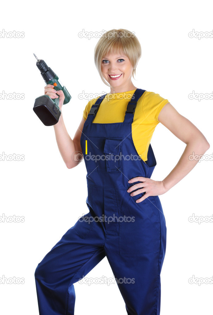 Beautiful girl with a drill in building overalls. Isolated on white background — Stock Photo #3223247