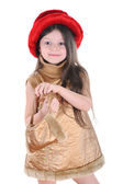 The little girl in a red hat — Stock Photo