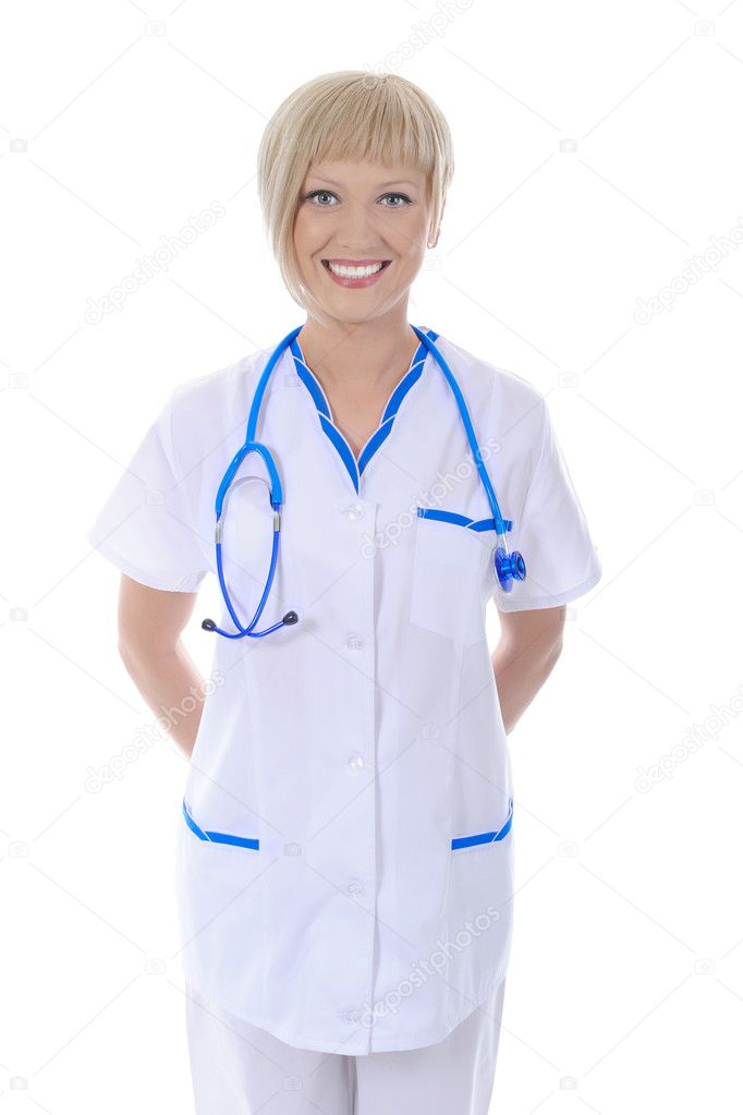 Smiling doctor in a robe. Isolated on white background — Stock Photo #3244849