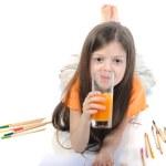 Little girl drinking juice — Stock Photo