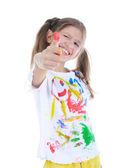 Joyful girl in a paint — Stock Photo