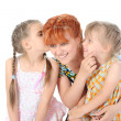 Stock Photo: Happy Mother talking with her daughters.
