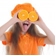Girl in orange — Stock Photo