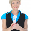Beautiful blonde girl with a lamp in his hand — Stock Photo #3277499
