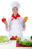 Handsome chef with Pepper in hand. — Stock Photo
