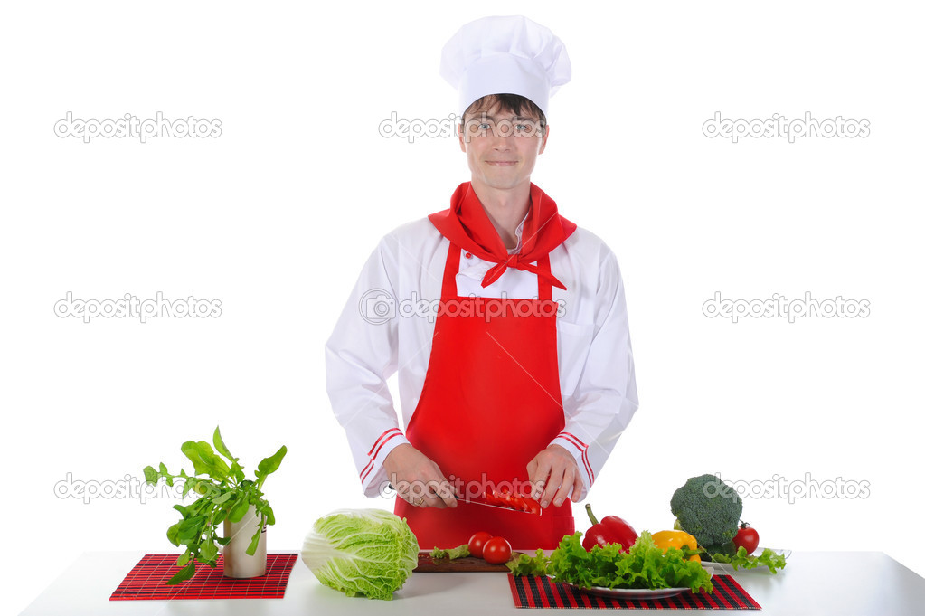 Chef in uniform cut tomatoes. Isolated on white background — Stock Photo #3277447