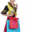 Beautiful blonde with bags. — Stock Photo