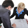 Stockfoto: Business partners are considering drawing.