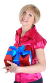 Young blonde with a gift. — Stock Photo