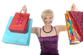 Meisje met shopping tassen. — Stockfoto