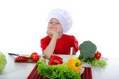 Little Chef in uniform. — Stock Photo