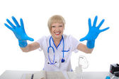 Doctor in blue gloves. — Stock Photo