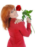 Woman with a red rose. — Stock Photo