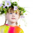 Royalty-Free Stock Photo: Three-year girl with a wreath on his head.