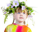Three-year girl with a wreath on his head. — Stock Photo