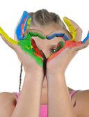 Dziewczynka z rąk malowane. — Zdjęcie stockowe