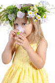 Little girl with a wreath of flowers. — Stock Photo