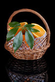 Oranges in a basket. — Stock Photo