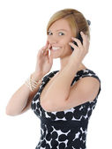 Beautiful woman with a phone — Stock Photo