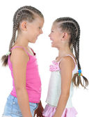 Two happy girl with pigtails. — Stock Photo