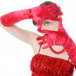 Young woman in red gloves — Stock Photo #3673050