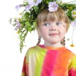 Girl with a wreath on his head. — Stock Photo