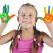 Stock Photo: Girl with palms painted by paint.