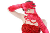Young woman in red gloves — Stock Photo