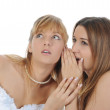 Bride whispers to friend — Stock Photo