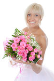 Happy bride with a bouquet — Stock Photo