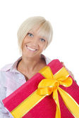 Blonde with a gift — Foto de Stock
