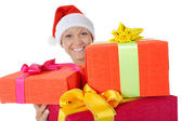Krásná vánoční žena. — Stock fotografie