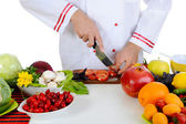 Aşçı sebze keser — Stok fotoğraf
