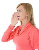 Beautiful woman tells a secret. — Stock Photo