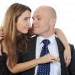 Woman pulls money out of pocket businessman — Stock Photo #3790615