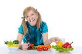 Mujeres felices en la cocina. — Foto de Stock