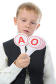 Boy learns to read — Stock Photo