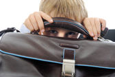Boy with a briefcase — Stock Photo
