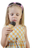 Girl eating ice cream. — Stock Photo