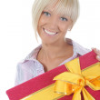 Blonde with a gift — Stock Photo #3875144
