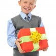 Boy holding present box — Stock Photo #3887033