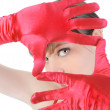Royalty-Free Stock Photo: Portrait of a beautiful girl in the red gloves.