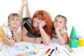 Happy mother with her daughters. — Stock Photo