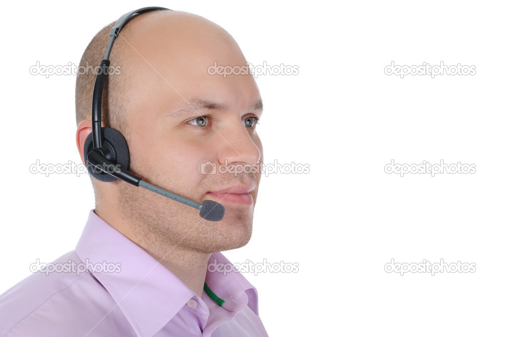 Business man with a headset isolated on white background  — Stock Photo #3962289