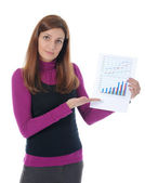 Businesswoman holding documents — Stock Photo