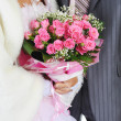 Married with a bouquet — Stock Photo