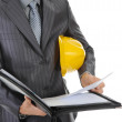 Businessman with construction helmet — Stock Photo
